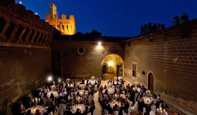 cena matrimonio corte castello di Oliveto