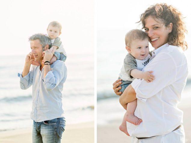 immagini di famiglia in spiaggia
