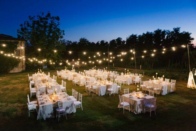 allestimento cena matrimonio villa bruguier catenarie